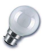 Ampoule sphérique B22 230V 15W blanche dépolie