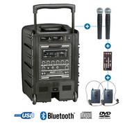 Sonorisation portable sur batterie Power acoustics BE 9208 PT ABS 2 micro + 2 HF