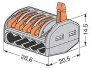 Borne de connexion de type WAGO 5 X 0.08 à 4mm cond souple ou rigide