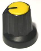 Bouton pour potentiomètre rotatif rond axe 6mm 15X16mm noir jaune