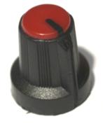 Bouton pour potentiomètre rotatif rond axe 6mm 15X16mm noir rouge