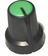 Bouton pour potentiomètre rotatif rond axe 6mm 15X16mm noir vert