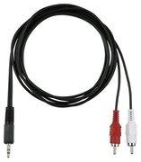 cordon adaptateur 2 RCA Cinch Males vers 1 minijack 3.5mm male stéréo 1,5m