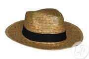 chapeau style panama en paille avec bandeau noir