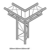 Structure Triangle alu duratruss DT23-C33-LD angle 3 départs pied gauche pointe en bas