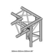 Structure Triangle alu duratruss DT-33 angle 3 départs de 90° gauche avec manchon