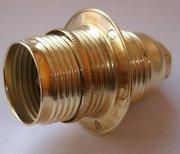 Douille métal laitonné E14 filetée avec 1 bague
