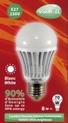 Ampoule à led Blanche E27 10W 230V Blanc Jour 6400