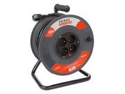 Enrouleur Perel 3G1.5 cable noir 4 prises et protection longueur 50m
