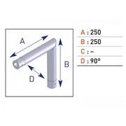 angle 2 départ pour barre alu simple EX5023 avec embout conique 25cm X 25cm