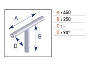 Jonction en T 3 départs pour barre alu simple EX5034 avec embout conique 45cm X 25cm