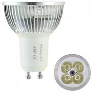 Lampe à 4 leds 4 X 1W Blanc chaud 2700K GU10 230v graduable ** fin de série **