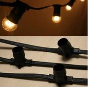 Guirlande B22 100m 300 Douilles sans Lampes Câble Noir 230V