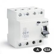 Interrupteurs différentiels 30mA tétrapolaires 63A type A Ohmtec