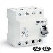 Interrupteurs différentiels 30mA tétrapolaires 63A type AC Ohmtec