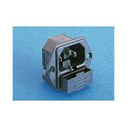Embase IEC mâle pour chassis avec porte fusible et trous de fixation