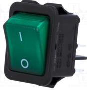 Interrupteur à bascule bipolaire 230V 16A vert avec temoin lumineux