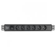 Multiprise noire 6 prises schuko 16A + inter rackable 19 pouces