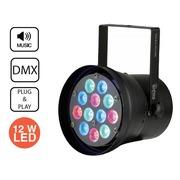 Projecteur LED PAR 36 noir RGB DMX 12X1W