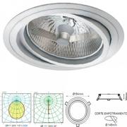 Plafonnier aluminium spot encastré orientable alu pour AR111