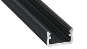Profilé de surface typeA 16X9mm pour ruban 13mm de largeur max laqué noir 2m