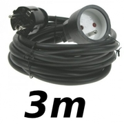 Rallonge 3m cordon prolongateur H5VV 3 X 1.5mm² noir éco