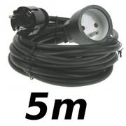 Rallonge 5m cordon prolongateur H5VV 3 X 1.5mm² noir éco