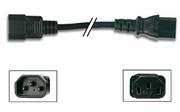 prolongateur secteur noir IEC male vers femelle 3G0.75mm² 2m