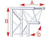 structure alu ASD angle 2 départs vertical SX290 triangulaire 1m ASD ASX23