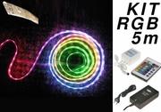 Kit 5 m de Ruban LED RVB 60 Leds/m IP65 avec contrôleur et alimentation