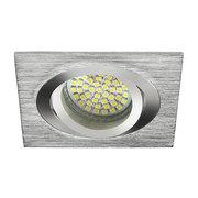 Plafonnier aluminium brossé chromé  carré encastré spot orientable sans lampe
