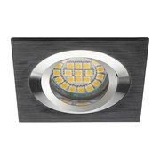 Plafonnier aluminium brossé noir carré encastré spot orientable sans lampe