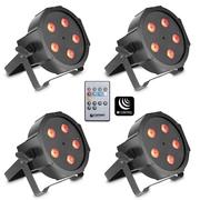 Pack de 4 projecteurs led Cameo flat par can tri 3X5W IR avec télécommande infrarouge