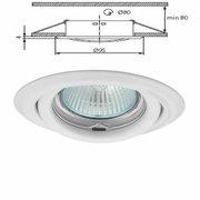 Plafonnier blanc spot encastré orientable pour dichroique halogène ou led 50mm