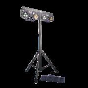 Pack de 4 projecteurs leds power lighting sur pied avec pédalier télécommande sans fil et housse