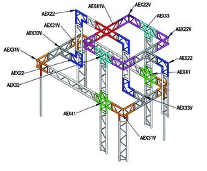 Angle Vertical de structure échelle ASD AEX20V, 45°