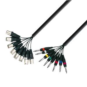 Câble multipaire 8 XLR Mâles 3 broches vers 8 Jast Stéréo 6.35 long 3m