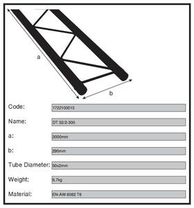 Structure double alu duratruss DT-32/2-300 longueur 3m00 avec kit de jonction
