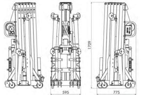 Pied de levage à fouches ASD ELP620 hauteur 6m20 charge max 300kg