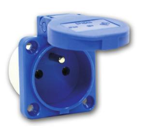 Embase encastrable femelle secteur 230V 16A Bleue avec volet IP54 connexions automatiques