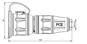 Prise femelle 16A secteur caoutchouc avec capot IP54 Taurus