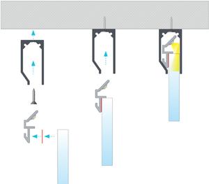 Profilé aluminium ruban led Type 16 pour plaques verre ou plexiglass barre de 2m