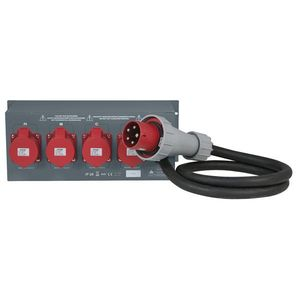 Distribution électrique 63A vers 4 32A tetra affichage courant tension Showtec PSA-63A4C