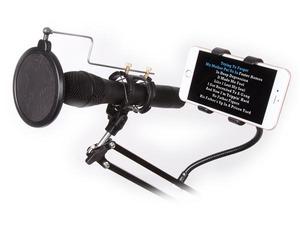 Support micro + smartphone sur doubles bras reglables avec suspension avec filtre et fixation table
