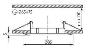 Plafonnier chrome mat spot encastré fixe pour dichro 50mm