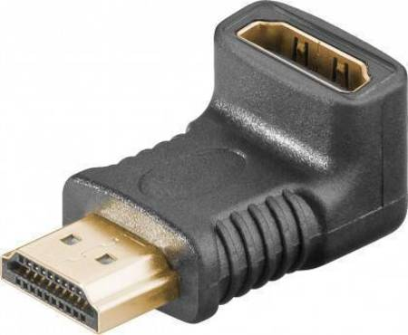 Adaptateur HDMI Mâle femelle d'angle droit doré vertical bas