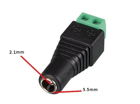 Connecteur DC 5.5 x 2.1mm FEMELLE VERS CONNEXION À VIS