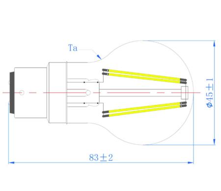Ampoule sphérique led filament sylvania Toledo RT B22d 4,5W 420 lumens blanc chaud V2