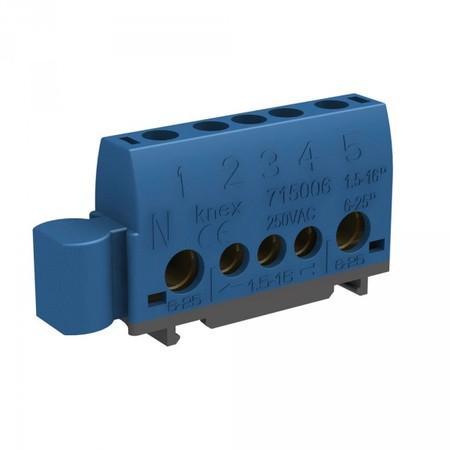 Bornier pour rail Din 2 bornes 6-25mm2 et 3 bornes de 1,5 à 16mm2 bleu pour neutre