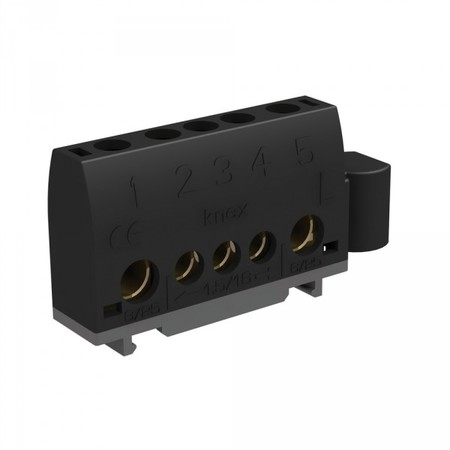 Bornier pour rail Din 2 bornes 6-25mm2 et 3 bornes de 1,5 à 16mm2 noir pour phase